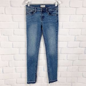 Free People Skinny Jeans Medium Wash Raw Hems